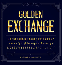Gold metallic font set letters numbers and vector