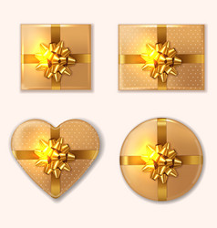 golden gift box set realistic product vector image