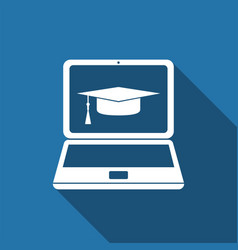graduation cap and laptop icon e-learning concept vector image
