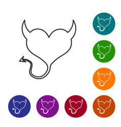 Grey line devil heart with horns and a tail icon vector