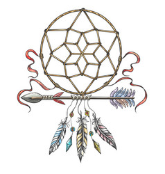 hand drawn arrow with dream catcher tribal tattoo vector image