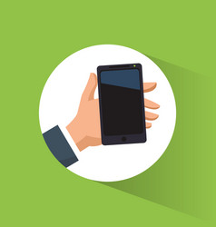 hand holding smartphone mobile advertising vector image