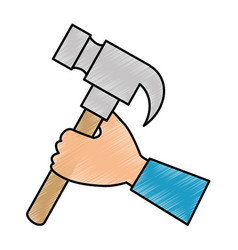 Hand with hammer tool isolated icon vector