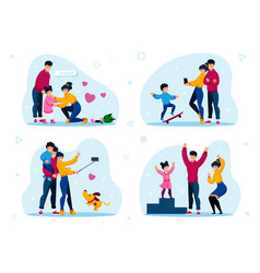 happy family life situations flat set vector image