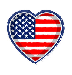 Heart shaped flag of united states vector