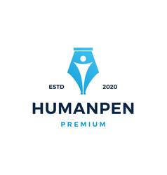 Human pen logo icon vector