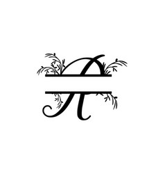 Initial r decorative plant monogram split letter vector