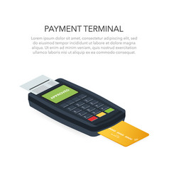Isometric pos terminal confirms payment by vector