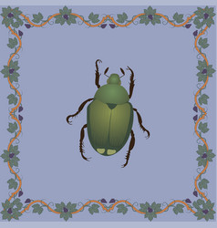 japanese beetle color in medieval flo vector image