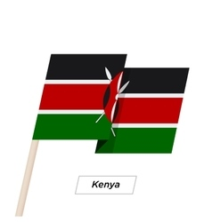 Kenya Ribbon Waving Flag Isolated on White vector