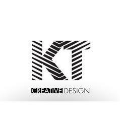 Kt k t lines letter design with creative elegant vector