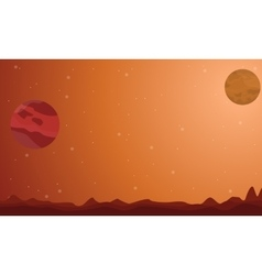 Landscape on planet outer space vector
