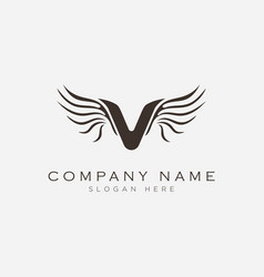 letter v with wings symbol logo design vector image
