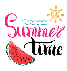 Lettering quote summer time Hand drawn Sketch vector image