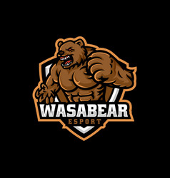 Logo angry bear e sport and sport style vector