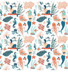 magic seamless pattern underwater animals vector image