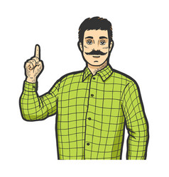 Man with index finger up color sketch engraving vector