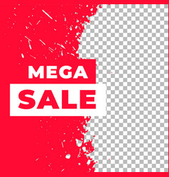 Mega sale red grunge style banner template vector