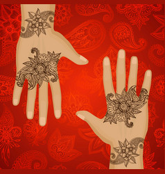 mehendi hands oriental floral ornament in indian vector image