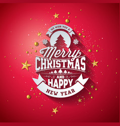 Merry christmas typography with 3d vector