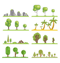 Mobile game tree icons set forest nature landscape vector