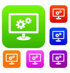 monitor settings set collection vector image