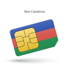 New Caledonia mobile phone sim card with flag vector image