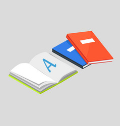 open book with letter a and textbooks vector image