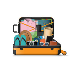 Open suitcase packed for travel vector