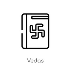 Outline vedas icon isolated black simple line vector