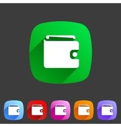Purse wallet icon flat web sign symbol logo label vector