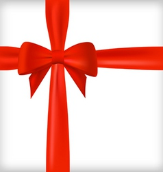 realistic red bow and ribbon vector image vector image