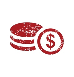 Red grunge money logo vector image