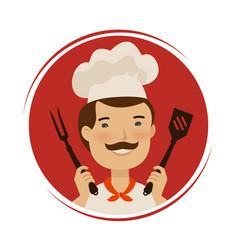 Restaurant logo or label happy chef holding vector