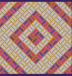 Rhombic woolen cozy knitted seamless pattern vector