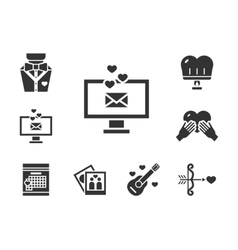 Romance dating black icons set vector image