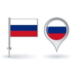 Russian pin icon and map pointer flag vector