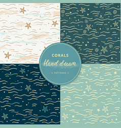 sea seamless patterns with corals hand-drawn vector image