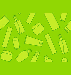 seamless background with bottles of cosmetic vector image