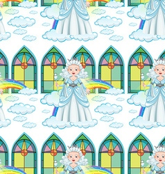 Seamless queen on clouds and rainbow vector image