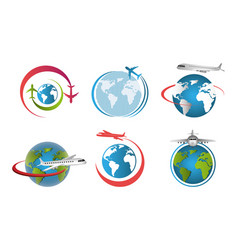 Set airplanes flying around world vector