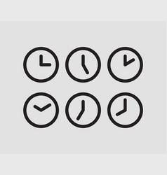 set clock icon time line graphic design elements vector image