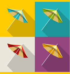 set of colorful umbrellas in flat design beach vector image