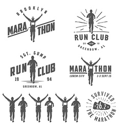set run club labels emblems and design element vector image