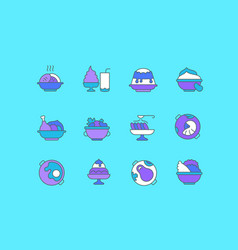 set simple line icons dishes vector image