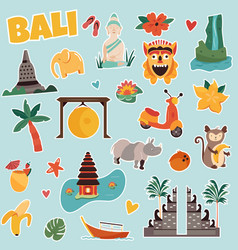 Set stickers with bali landmarks and elements vector