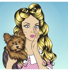 Sexy girl with little dog Yorkshire Terrier vector