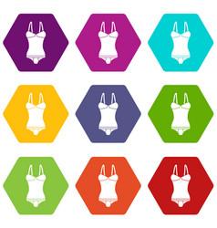 sleepwear icons set 9 vector image