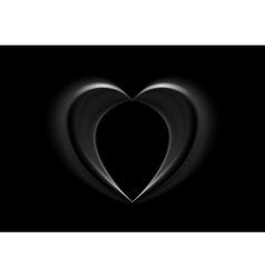 Smooth silk black heart background vector image