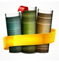 Stack of books with ribbon vector image